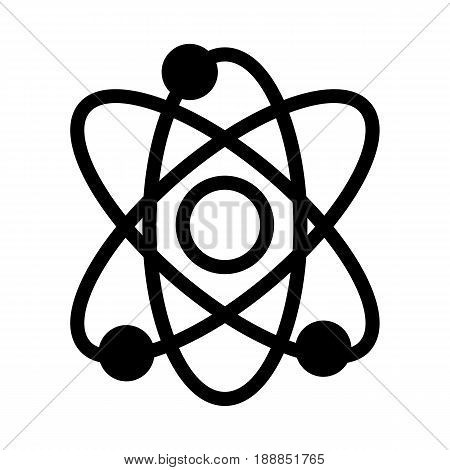 Atom vector icon. Black and white illustration of science . Solid linear atom icon. eps 10