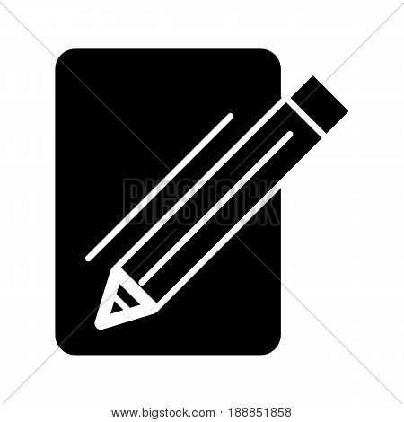 Blank paper and a pencil vector icon. Black and white illustration of note pad and pen. Solid linear icon. eps 10