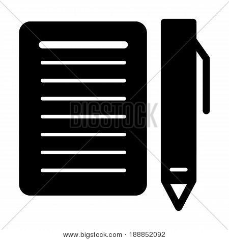 Blank paper and a pen vector icon. Black and white illustration of note pad and pen. Solid linear icon. eps 10