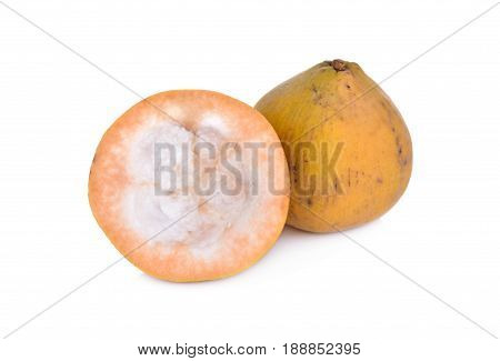 whole and half cut santol on white background