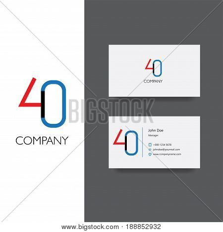 Vector eps logo with forty number company , Business Card Template, icon design