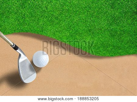 Golf ball on sand trap bunker with wedge club ready to swing it out. Copy space.  3D rendering of fictitious golf course.