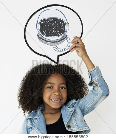 Child with a drawing of astronaut helmet