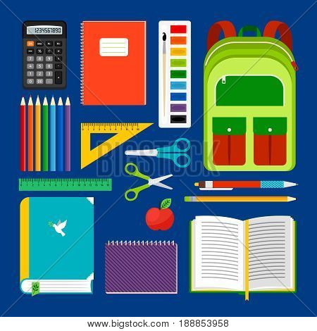 School workplace items or school equipment object collection. Backpack and notebook, apple and pencils icons for study. Vector illustration