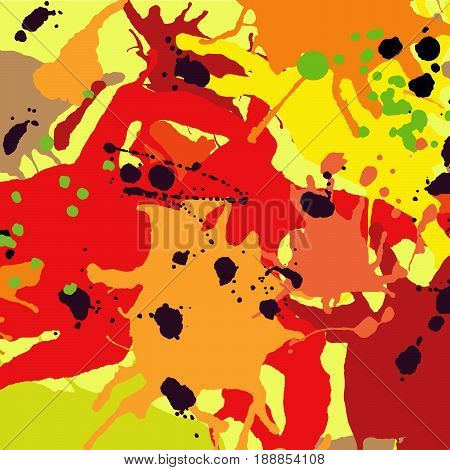 Red orange maroon ink paint splashes vector colorful background