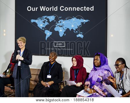 People connected to global communication online community conference