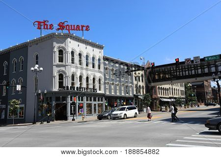 LEXINGTON, KENTUCKY - MAY 13, 2017:  The Square in downtown Lexington has charming Victorian architecture and houses numerous retail stores, restaurants, and other businesses.