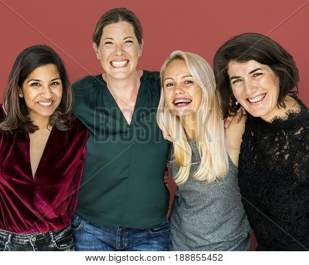Happiness group of women huddle and smiling together