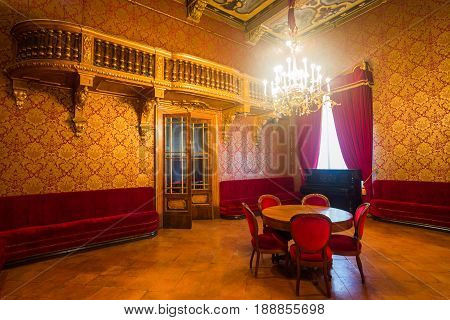 Busseto Italy - November 29 2013: The foyer of the Verdi Theatre