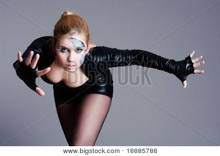 Beautiful cyber woman isolated on grey background