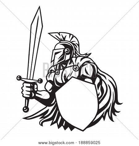 Spartan Warrior Line Drawing Illustration Vector Mascot