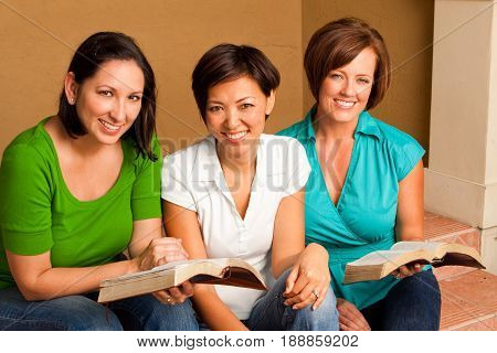 Multicultural small group. Women's small group Bible Study.