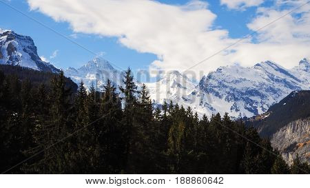 Snow mountain panoramic view at Jungfrau with blue sky background