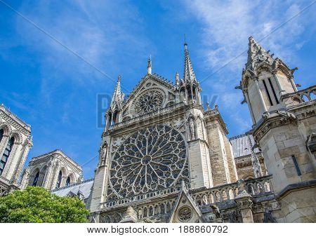 Sideview Of The Cathedral Notre Dame At The Ile De La Cité At Paris