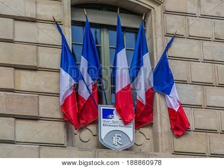 French Flags On A Police Station At Paris
