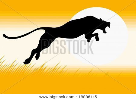vector image of silhouette of jumping black panther