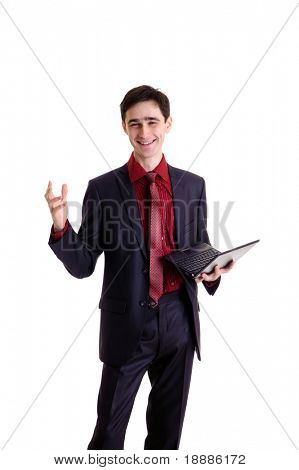 young smiling canvasser with netbook, isolated on white