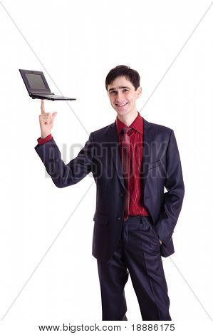 businessman hold black netbook on his finger, isolated on white