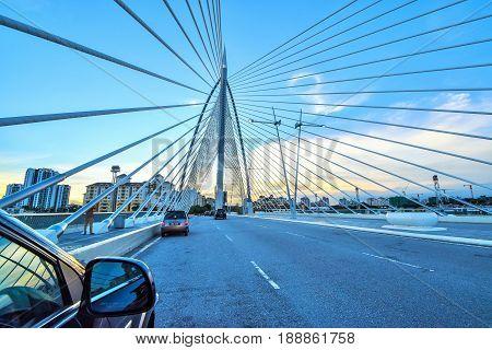 Sunset view of the landmark of silver steel bridge  in Putrajaya Malaysia.