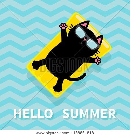 Hello Summer. Black cat floating on yellow air pool water mattress. Cute cartoon relaxing character. Sunglasses. Sea Ocean water with zigzag waves. Blue background Flat design. Vector illustration