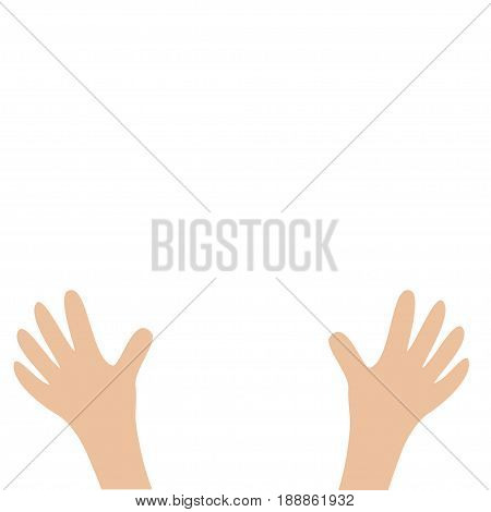 Two hands palms arm with fingers. Close up body part. Helping hand. White background. Isolated. Flat design. Vector illustration