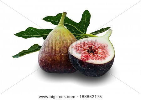 Extreme close-up image of purple fig and leaf studio isolated on white background