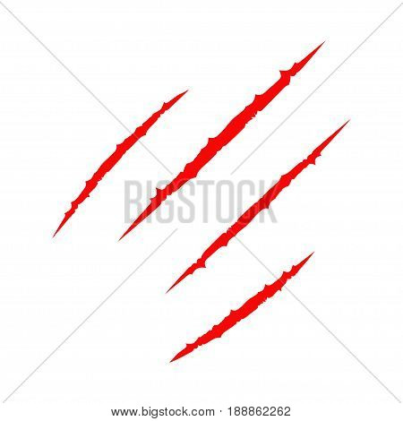 Red bloody four claws animal scratch scrape track. Cat tiger scratches paw. Four nails trace. Funny design element. Flat design. White background. Isolated. Vector illustration