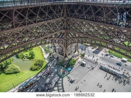 Steelworks of the Eiffel-Tower at Paris France