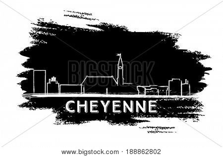 Cheyenne Skyline Silhouette. Hand Drawn Sketch. Business Travel and Tourism Concept with Historic Architecture. Image for Presentation Banner Placard and Web Site.