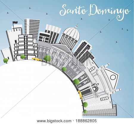 Santo Domingo Skyline with Gray Buildings, Blue Sky and Copy Space. Business Travel and Tourism Concept with Modern Architecture. Image for Presentation Banner Placard and Web