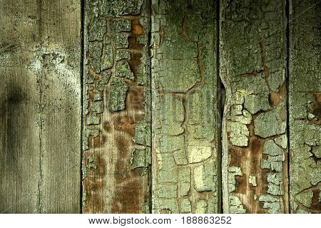 Old wood vertical planks with paint residues texture background for web