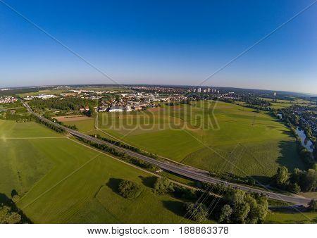 Aerial view of landscape with fish ponds near of Herzogenaurach in Bavaria