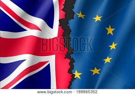 Brexit concept vector illustration. Symbol of Britain exit from European Union. Break between British and EU waving flags. Separation and crisis sign.