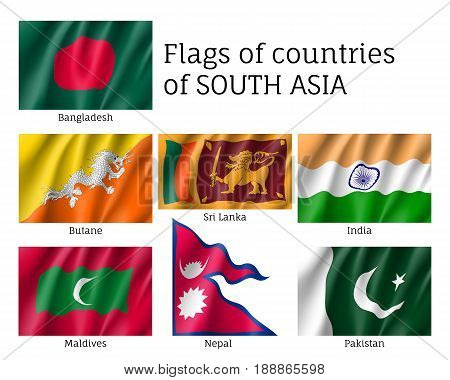 Set of flags of south Asia, Bangladesh, Butane, Sri Lanka, India, Maldives, Nepal, Pakistan, realistic and wind waving, bright silky material. Vector illustration