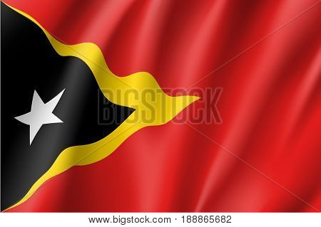 Waving flag of Democratic Republic of East Timor. Patriotic sign in official country colors. Symbol of Southeast Asia state. Vector icon illustration