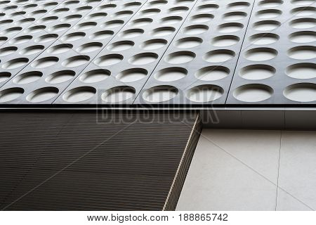 Black and white doted modern architecture abstract