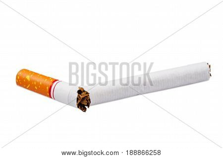 Close up the Cigarette isolated white background.