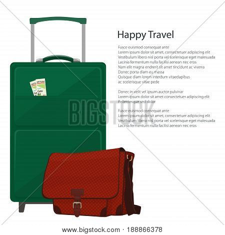 Flyer Trolley Suitcase and Bag Luggage Bags for Traveling and Text Travel and Tourism Concept Poster Brochure Design Vector Illustration
