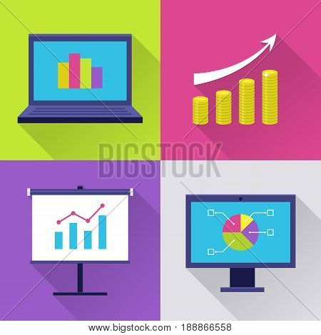 Finance icon set. Modern icons with finance diagram, chart with arrow, graph and growth. Interface elements in flat design with long shadows. Vector illustration isolated on white background.