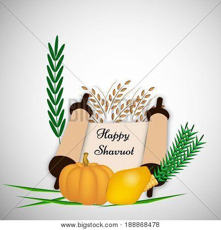 illustration of Papaya, pumpkin, corn and wheat with happy Shavuot text