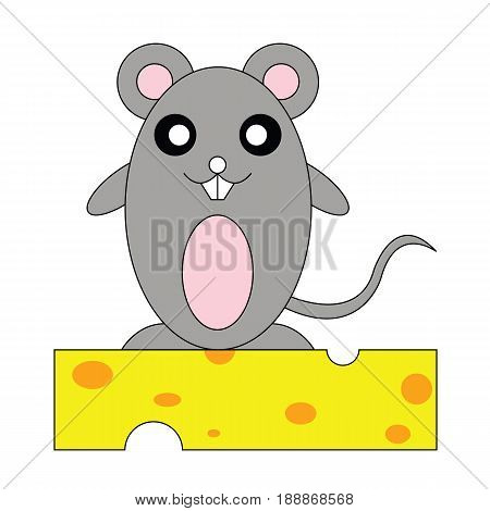 Rat on cheese.Adorable rats with cheese meals.