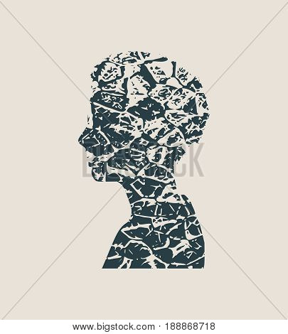 Face side view. Elegant silhouette of a female head. Vector Illustration. Long curly hair. Monochrome gamma. Grunge cracked texture avatar