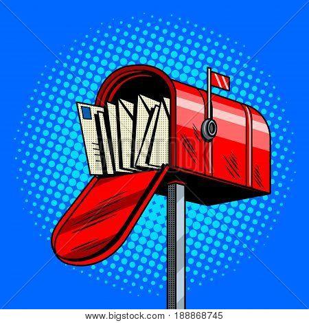Letter box comic book pop art retro style vector illustration