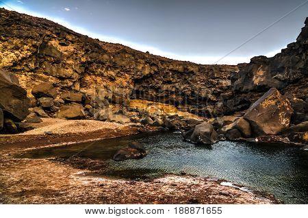 Bay of Crater salt lake Assal in Djibouti
