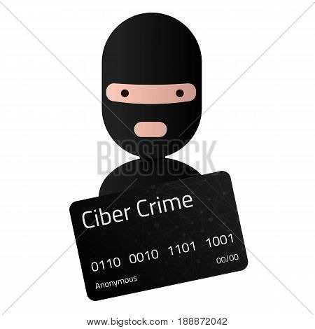 Head of the ransomware. Ciber crime credit card with unidentifiable personal data. Editable eps10 Vector. Transparent background.