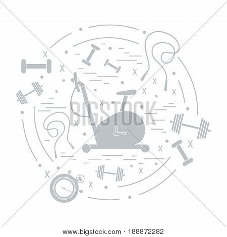 Vector Illustration Of Different Kinds Of Sports Equipment Arranged In A Circle. Including Icons Of