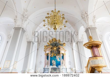 COPENHAGEN, DENMARK- FEB 25: Interior of Church of Our Saviour in Copenhagen on Feb 25, 2017. This is a baroque church, most famous for its helix spire with an external winding staircase.