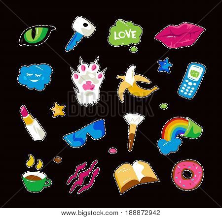 Fashion patch badges with lips cat paw cat eye and other elements. Colorful graphics in hand drawings style. Isolated on black background