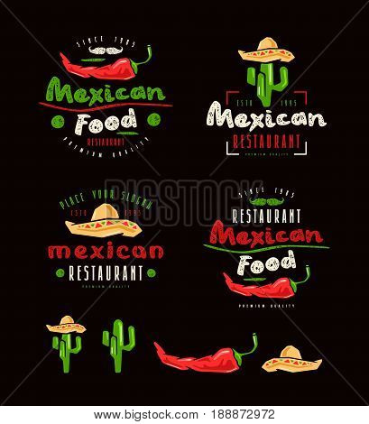 Mexican Food Labels, Badges And Design Elements