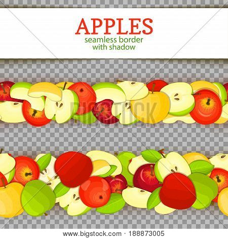 Ripe apple Horizontal seamless borders. Vector illustration card. Wide and narrow endless strip with Juisy apples fruits with shadow transparent whole and slice, leaf. Infinite fruit border